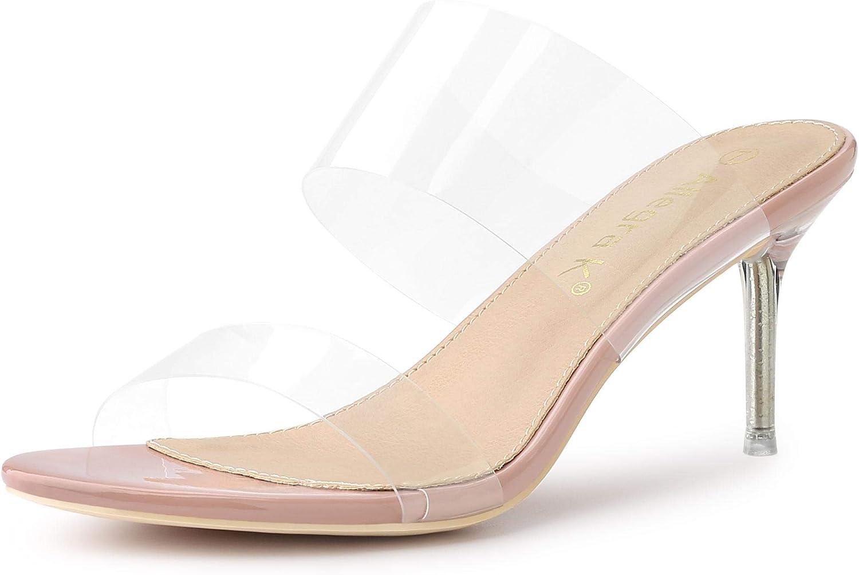 Allegra K Women's Clear Slide Stiletto Heels Clear Sandals