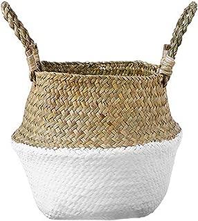 comtervi cesta de mimbre cesta de flor trenzado plegable sale redondo mimbre, con asa plegable––Bote de almacenamiento para plantas, flores, juguetes, hecho de Herbiers de mar M:27x24cm blanco