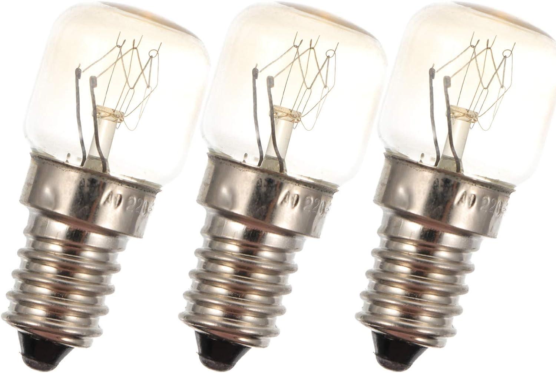SOLUSTRE 3 bombillas de repuesto para microondas, 15 W, para horno, horno, frigorífico, microondas