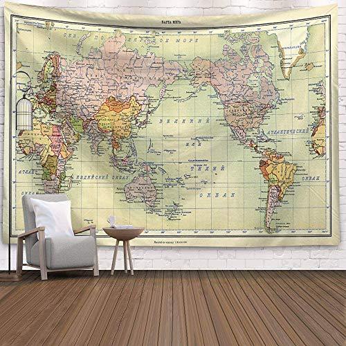 WERT Mapa del Mundo 3D geométrico Tapiz Colgante de Pared Toalla de Playa decoración del hogar Tapiz de Tela de Fondo A18 150x200cm