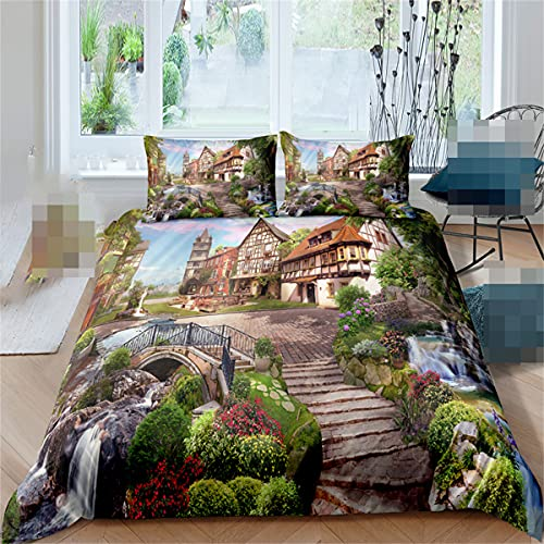 Paisaje cascada 3D juego de ropa de cama 2/3 piezas juego de funda de almohada suave cama individual doble grande tamaño king