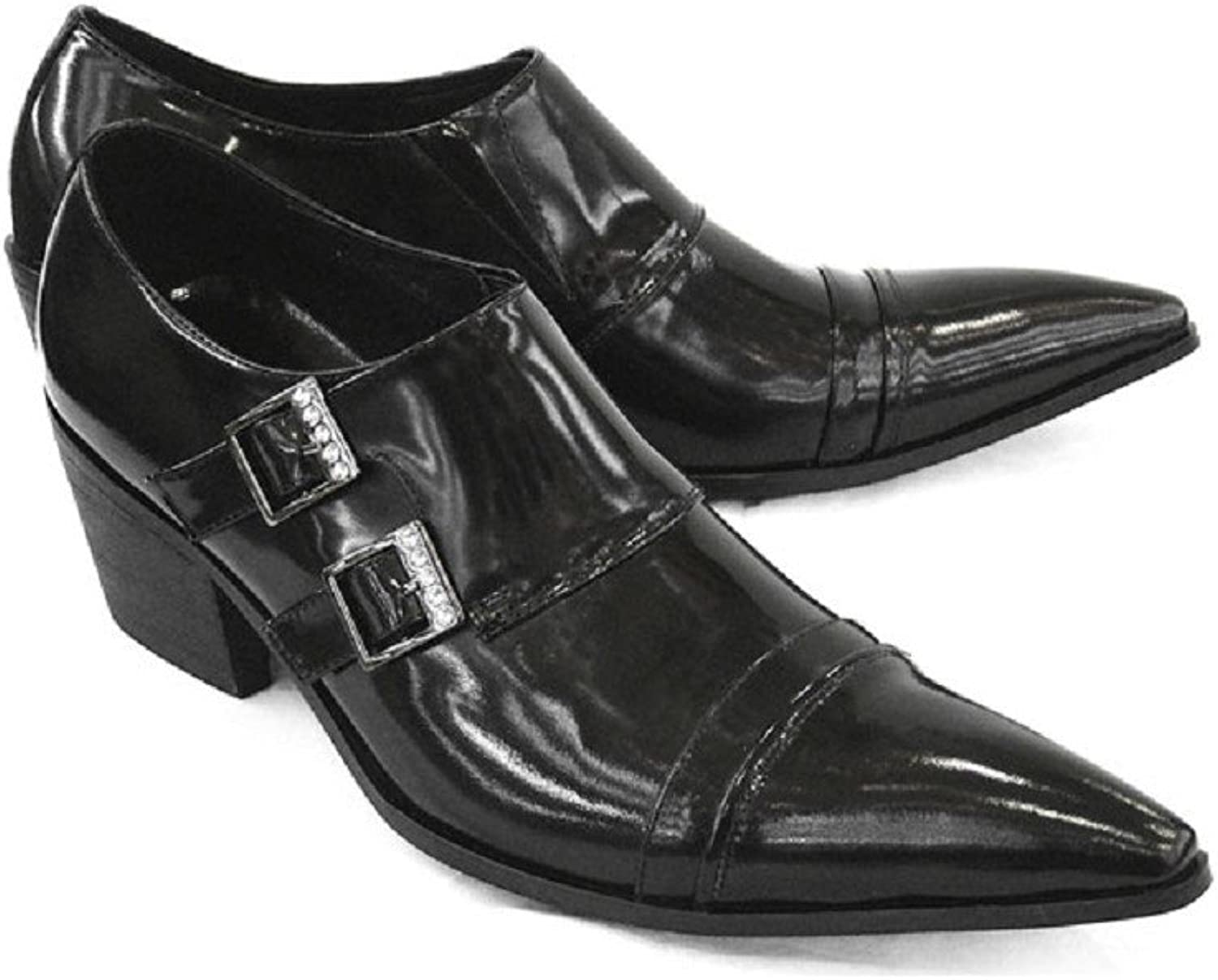 US Size 5-12 New Black Leather Pointed Toe Dress Mens Monk Strap Loafers shoes