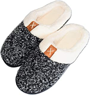 Walk Diary House Slippers for Women Faux Fur Memory Foam Shoes for Women Slip On Anti-Skid Sole Anti-Slip House Shoes