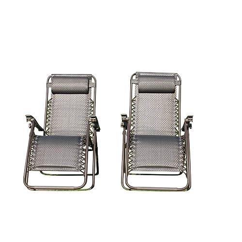Garden Market Place Set of 2 Padded Garden Sun Lounger Relaxer Recliner Chairs in Tweed Weatherproof Textoline, 120 X 110 X 60