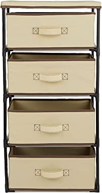 4-Tier Clothes Drawer, Tan Fabric Dresser Organizer for Clothing Storage
