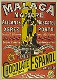 Millésime. Bières, Vins et Spiritueux' MALAGA MADÈRE' Environ 1910 - Sur Format A3 Papiers Brillants de 250g. Affiches de Reproduction