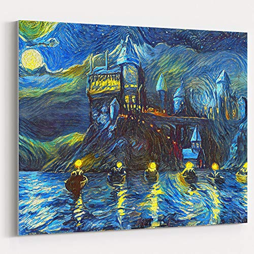 Westlake Art Starry Night Castle Night Boats Canvas Wall Art Print Van Gogh Magical Merchandise Modern Abstract Artwork for Home Room Decor - 12x18 inch Unframed