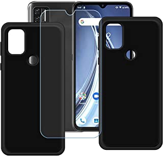 FZZ Case for Umidigi A9 + Tempered Glass Screen Protector Protective Film,2 Pack Slim Black Soft Gel TPU Silicone Protecti...