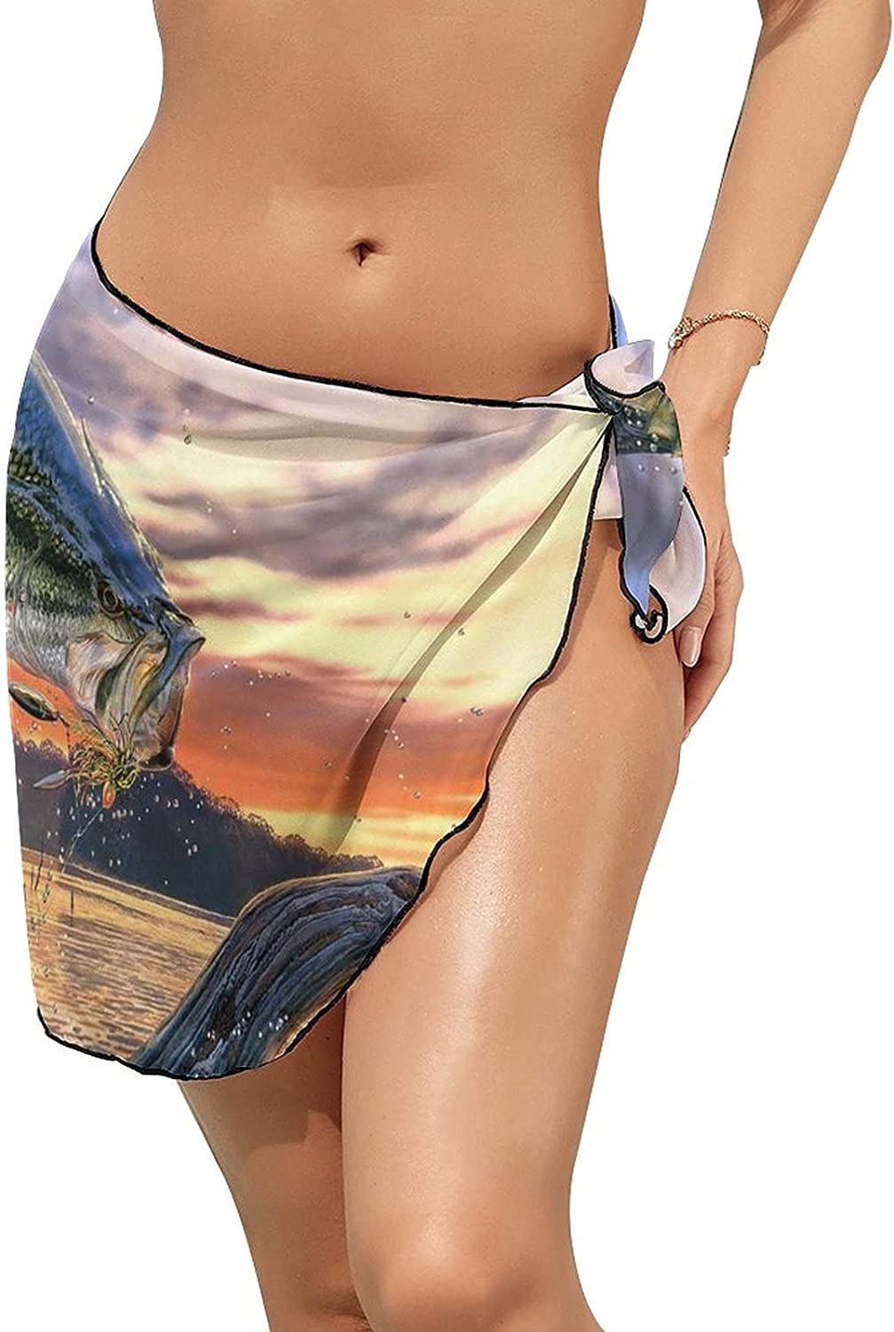 Women's Bikini Swimsuit Cover Up Bass Fish Jumping Out of The Sea Summer Beach Wrap Skirt Pareo Sarong