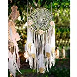 AerWo Boho Dream Catchers Handmade White Gold Feather Dreamcatchers with Flowers for Wall Hanging Decoration, Wedding Decoration Craft (Dia 7.8' Length 20')