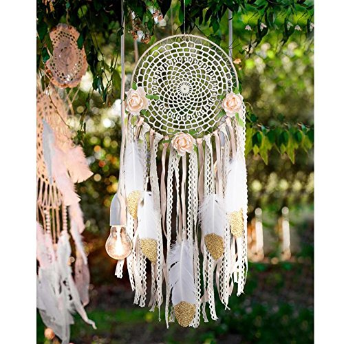 AerWo Boho Dream Catcher for Bedroom, Handmade White Gold Feather Flowers Dream Catchers for Girls Kids Nursery Bedroom Wall Decor Festival Gift ( Dia 7.8 Length 20)