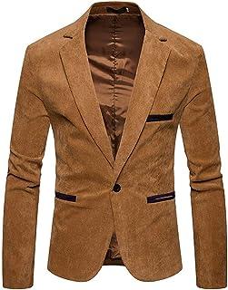 SEWORLD Men's Autumn Winter Casual Corduroy Slim Long Sleeve Coat Suit Jacket Blazer Top