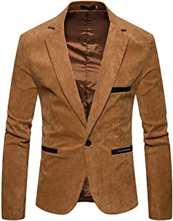 Men's Autumn Winter Casual Corduroy Suit Jacket Blazer Slim Fit Long Sleeve Coat Top