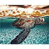 Cwanmh Pintura de la Lona Impresa Tortuga Marina Animal Lienzo para Colorear Set Regalo decoración de la Pared 40x50 cm