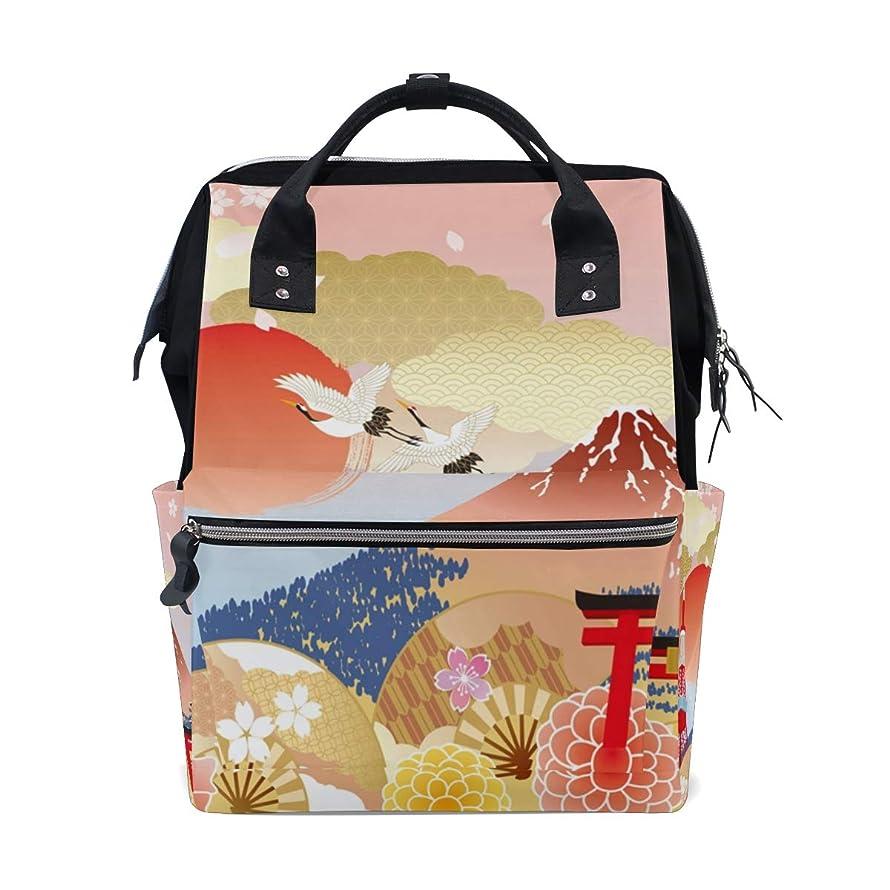 Japanese Elements Pattern School Backpack Large Capacity Mummy Bags Laptop Handbag Casual Travel Rucksack Satchel For Women Men Adult Teen Children