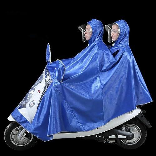 Duanguoyan Imperméable- Imperméable en Tissu Oxford pour Hommes et Femmes 1 Personne 2 Personnes circonscription Moto extérieur Poncho imperméable à l'eau (Couleur   Bleu, Taille   2 People)