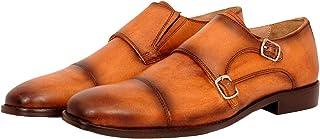 Ninety9steps Mens Monk Flap Strap Derby Shoe in Black or Tan - Sizes 6-12