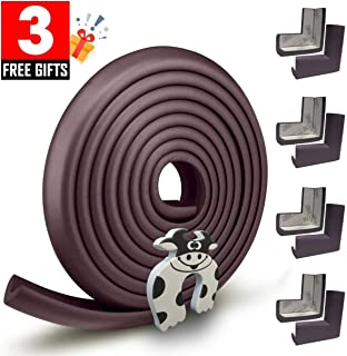 Edge Guard & Corner Protector - Extra Long 19.0ft [16.5ft Edge + 8 Pretaped Corners] with Baby Proofing, Home Safety Furniture Bumper and Table Edge Guards Child Safety [Brown]