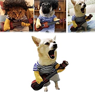 ⭐ Futurelove ⭐ Pet Guitar Costume Dog Costumes Guitarist Player Dressing Up Christmas Cosplay Party Funny Dog/Cat Clothes Outfits Halloween/Xmas/New Year Party Style Cute Pet Clothes