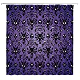 Purple Shower Curtain,Shocked Haunted House,Scared Face,Black Haunted House Pattern,Halloween Theme Decoration,Fabric Bathroom with Hook 70x70 Inches,Purple Black