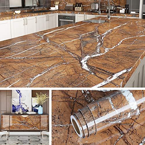 Livelynine Klebefolie Möbel Marmor Folie für Tisch Küchen Arbeitsplatten Schminktisch Deko Marmor Küchenrückwand Fensterbank Arbeitsplatte Küche Marmorfolie Selbstklebend Dekorfolie 40CMX2M