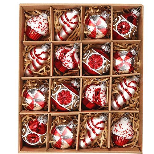 Valery Madelyn 16tlg. Glas Weihnachtskugeln 6-8cm Rot und Weiß Weihnachtsbaumschmuck Weihnachten Deko Anhänger Glas Christbaumkugeln Weihnachtsbaum Dekoration Süßigkeiten Thema