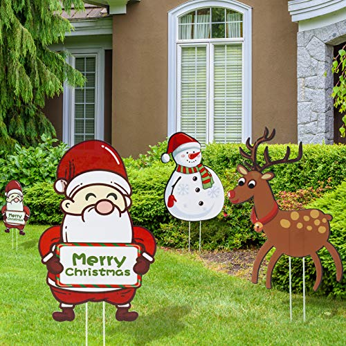 Joyjoz Christmas Yard Signs with Stakes for Holiday Lawn Yard Outdoor Decorations - Christmas Holiday Decorations Outdoor with Santa, Snowman, Elk Design