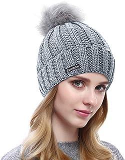 ZOORON Pompom Beanie for Women,Faux Fur Winter Soft Warm Beanie Hat Cable Knit Slouchy