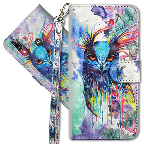 MRSTER Moto E6 Plus Handytasche, Leder Schutzhülle Brieftasche Hülle Flip Hülle 3D Muster Cover mit Kartenfach Magnet Tasche Handyhüllen für Motorola Moto E6 Plus. YX 3D Colorful Owl