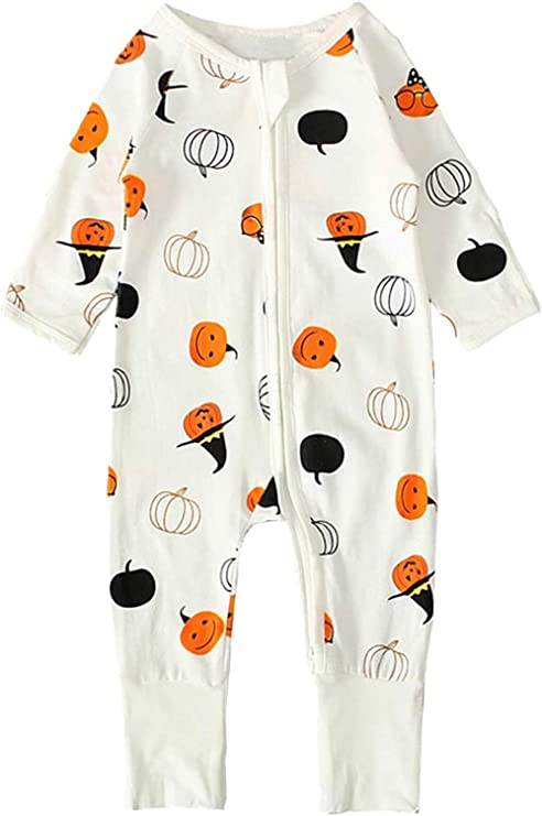 Baby Boys Girls Thanksgiving One-Piece Turkey Long Sleeve Jumpsuit Dress Christmas Halloween Outfits