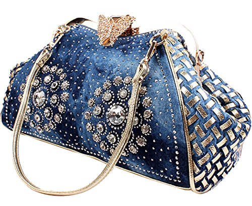 COOFIT Women's Denim Blue Knitted Top Handle Handbags with Shiny Rhinestone