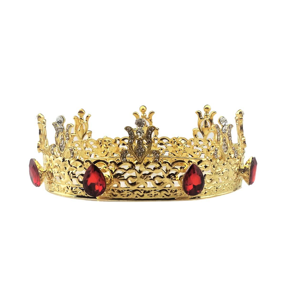 TINKSKY Baroque Bridal Crown Tiara Crystal Bride Round Headband Wedding Tiara Full Crown Wedding Accessories (Golden)