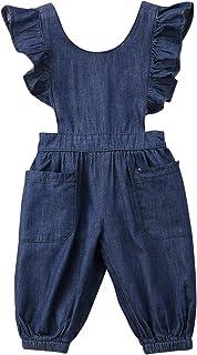 Carolilly Mono Bebé Peto Overalls Largo Pantalones Conjuntos Traje de Niños con Mangas Cortos de Volantes