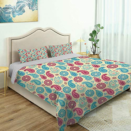 SUPNON Modern Quilt Cover Bedding Set Paisley,Retro Style Paisley Patterns and Cotton Quilt Cover and 2 Pillowcases Bedding 3 Piece Duvet Cover Set No50544 - Queen Size
