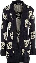 Thever Women Ladies Halloween Skull Skeleton Print Open Front Knitted Cardigan