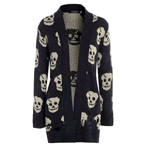 ed89f95b048f Thever Women Ladies Halloween Skull Skeleton Print Open Front Knitted  Cardigan