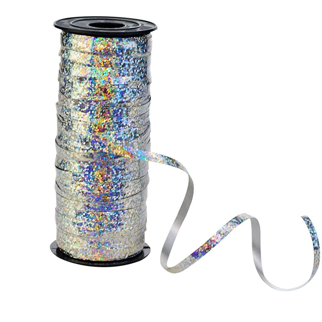 Nydotd Crimped Curling Ribbon Roll, 100 Yard Metallic Silver Balloon Ribbons Strings for Party Festival Flowers Crafts Wrapping, 5 mm Width