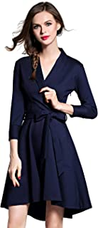 LAI MENG FIVE CATS Women V Neck 3/4 Sleeve Pleated Swing A-Line Skater Cocktail Dress with Belt