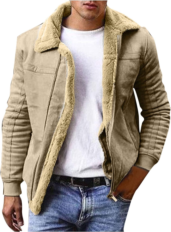Casual Sherpa Fleece Jackets for Mens Vintage Winter Warm Fur Collar Bomber Coats Jackets Outdoor Flannel Shirt