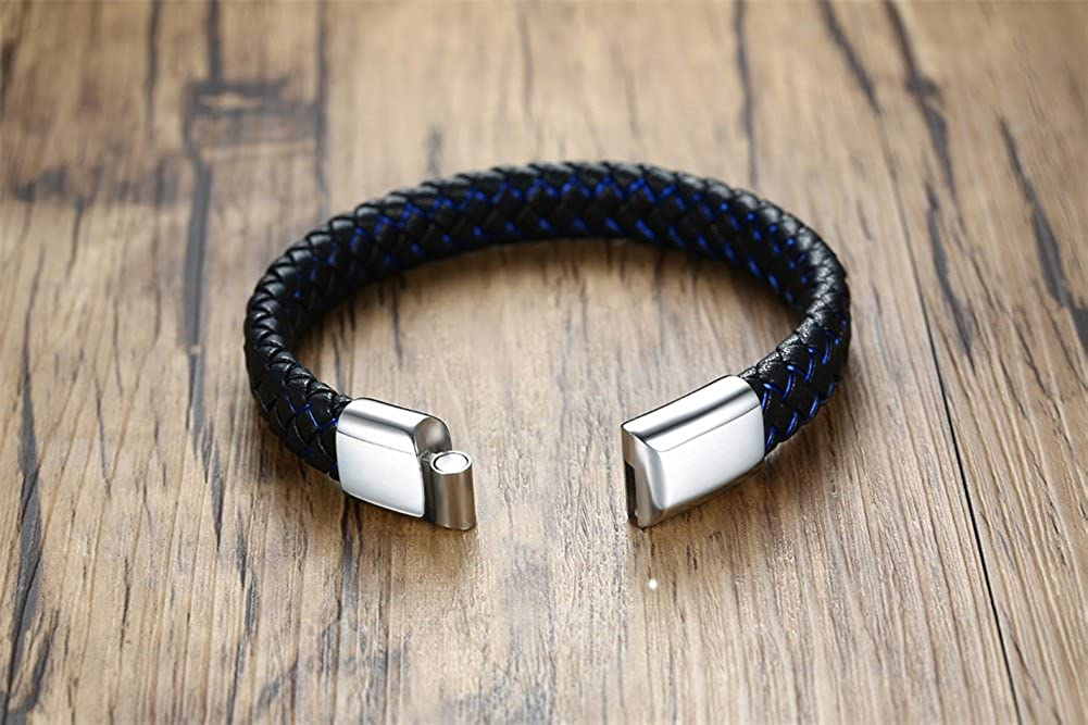 MEALGUET Personalized Mens Braided Genuine Leather Bracelet Custom Engraved Leather ID Bracelet with Magnetic Clasp Closure