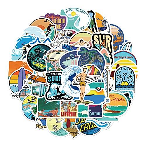 SHUYE Pegatinas de Surf de Hawaii al Aire Libre, Verano, Playa Tropical, Surf, Impermeable, DIY, Tabla de Surf, Coche, monopatín, calcomanía, Pegatina 50 Uds
