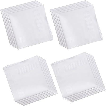 100% Cotton Men's Handkerchief White with Stich