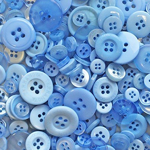 Knopfsortiment aus Acryl / Kunstharz, für Karten und Verzierungen, Blau, 100 g-Beutel