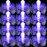 TDLTEK Waterproof Submersible Led Lights Tea Lights for Wedding, Party, Decoration (24 Pieces Purple)
