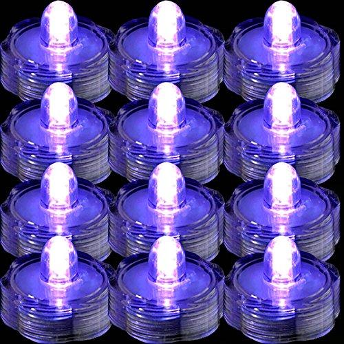 TDLTEK Waterproof Submersible Led Lights Tea Lights for Wedding, Party, Decoration (36 Pieces Purple)