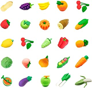 24 PCs Joanna Reid Collectible Set of Adorable Japanese Puzzle Vegetable and Fruit Erasers for Kids Value Pack - No Duplicates - Puzzle Toys Best for Party Favors-Treasure Box Items for Classroom
