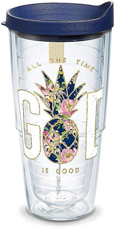 Tervis 1304234 Simply Southern God Is Good Pineapple 24 Oz Tumbler With Lid Clear