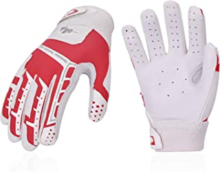 Vgo... 2Pairs Women Baseball Batting Gloves Breathable Anti-Slip Soft Goatskin Leather Palm(Red,  GA9677)