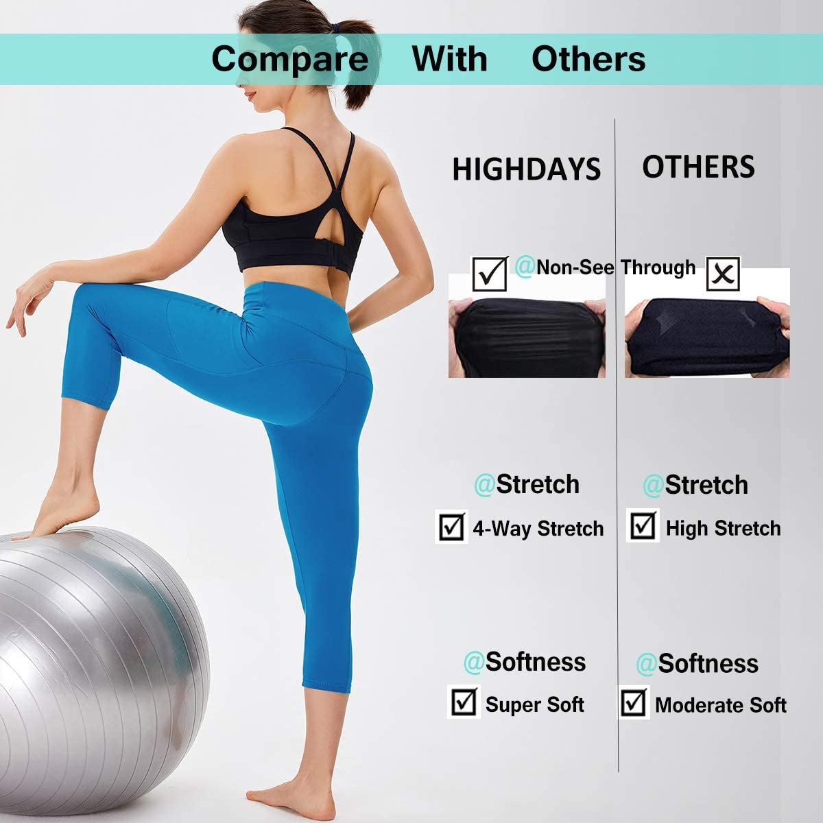 Running HIGHDAYS 3 Pack Women/'s Capri Leggings with Pockets High Waist Capri Yoga Pants for Workout Athletic