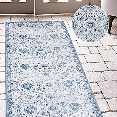 jinchan Vintage Area Rug Doormat Runner Rug Floral Floorcover Indoor Mat